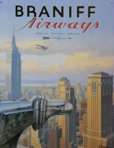 Plechová ceduľa Braniff airways - New york