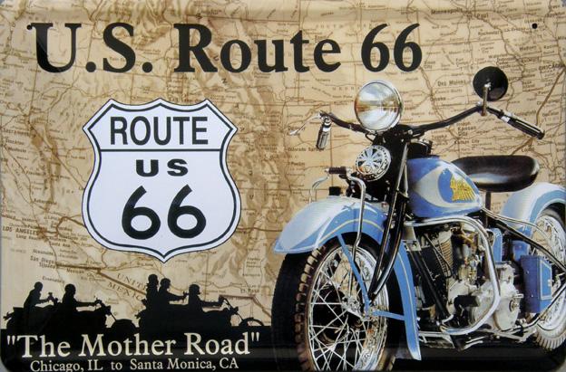 Plechová ceduľa Route 66 stredná