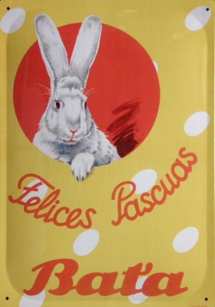 Plechová ceduľa Baťa - Felices Pascuas