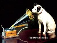 Plechová ceduľa His master voice stredná
