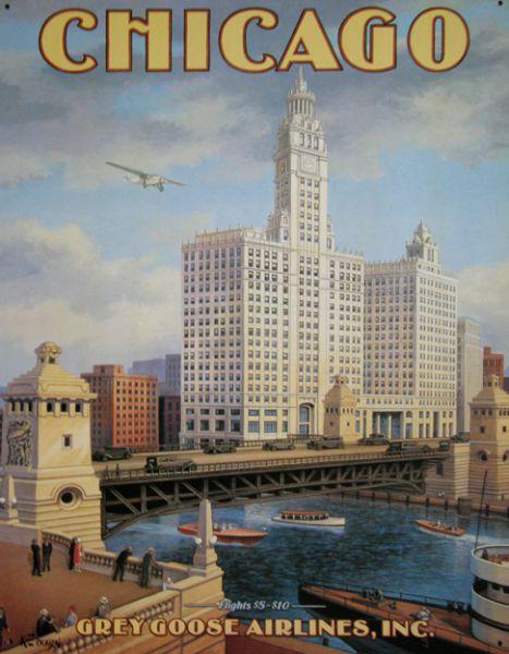 Plechová ceduľa Chicago