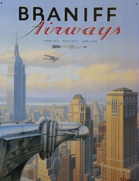 Plechová ceduľa Braniff airways - New york