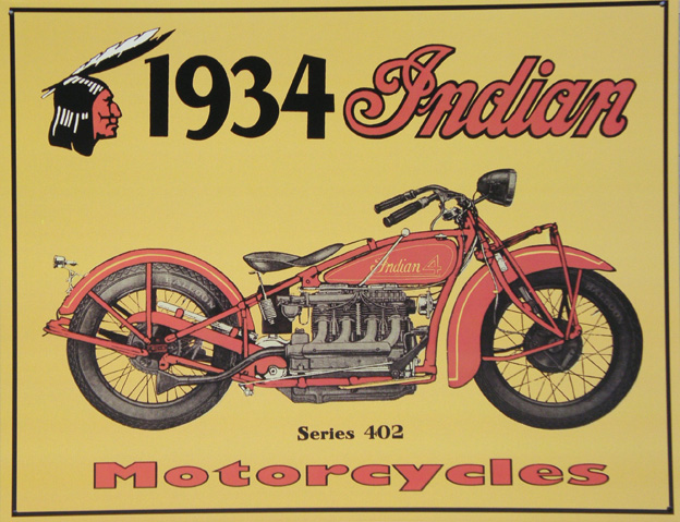 Plechová ceduľa Indian motorcycle 1934