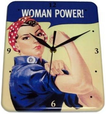 Plechové hodiny Women power