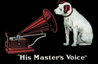 Plechová ceduľka His master voice
