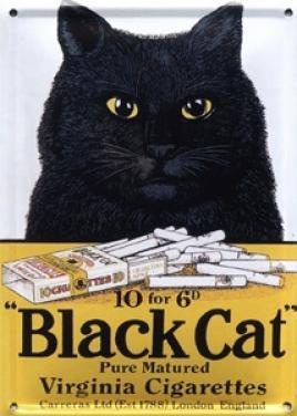 Plechová ceduľka Black Cat