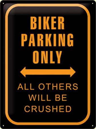 Plechová ceduľa Biker parking only