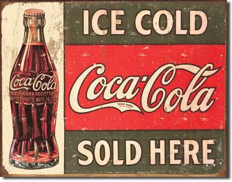 Plechová ceduľa Coca cola sold here 2