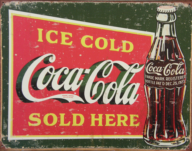 Plechová ceduľa Coca cola sold here 1
