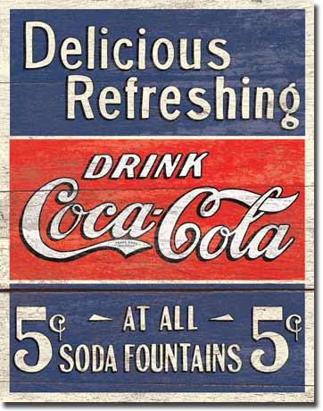 Plechová ceduľa Coca cola Delicious Refleshing