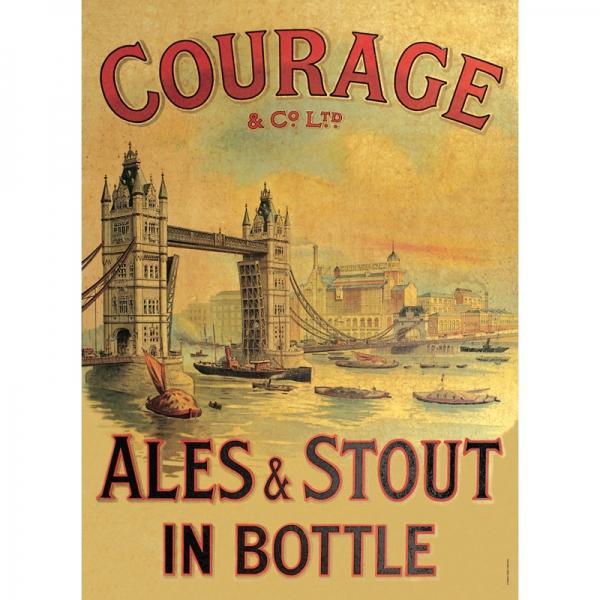 Plechová ceduľa pivo Courage
