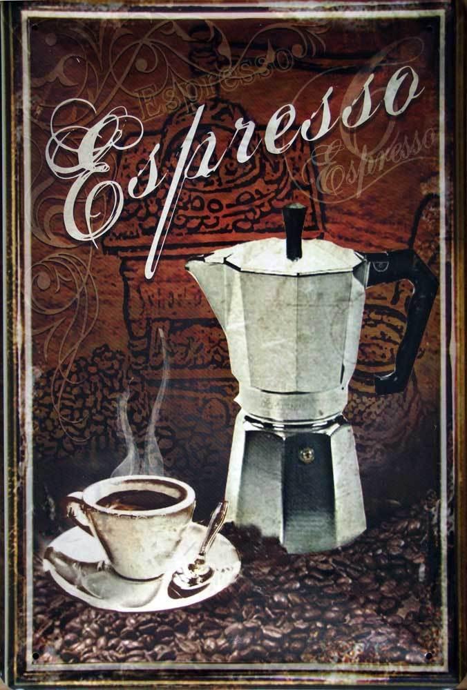 Plechová ceduľa káva - Espresso