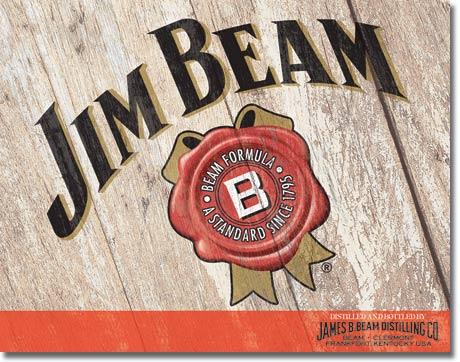 Plechová ceduľa Jim Beam woodcut