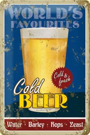 Plechová ceduľa pivo Cold Beer