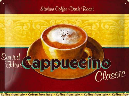 Plechová ceduľa káva Cappucino