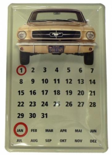 Plechová ceduľa kalendár Mustang