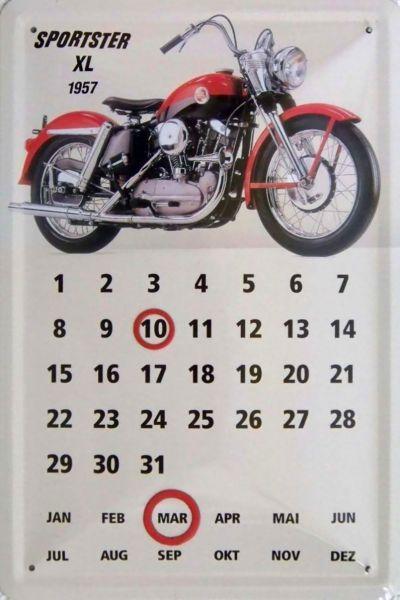 Plechová ceduľa kalendár Motorka Sportster XL 1957
