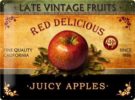Plechová ceduľa Juicy apples