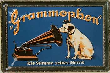 Plechová ceduľa His master´s voice - Grammophon stredná
