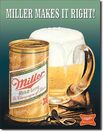 Ceduľa pivo Miller Makes it right!