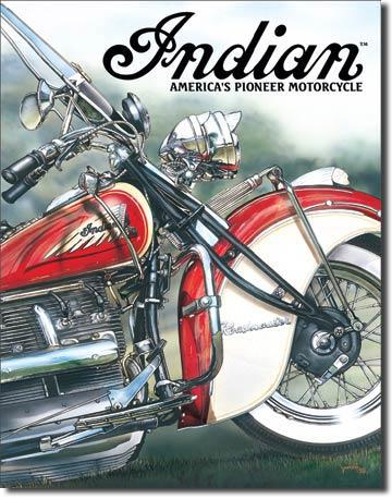 Plechová ceduľa motorka Indian America's pioneer motorcycle