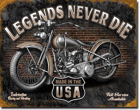 Plechová ceduľa motorka Legend never die