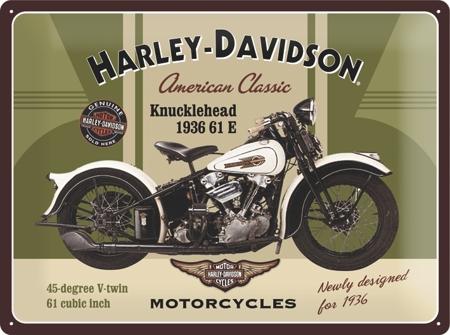 Plechová ceduľa motorka Harley Davidson 1936