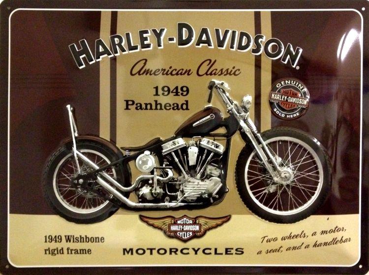 Plechová tabuľa motorka Harley Davidson 1949