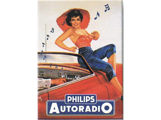 Plechová retro tabuľa Phillips Autoradio