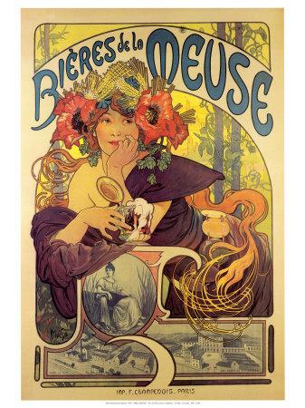 Plechová ceduľa Alfons Mucha Bieres