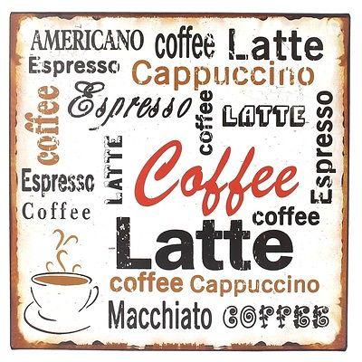Plechová ceduľa káva Coffe Latte
