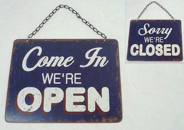 Plechová ceduľa Open - closed