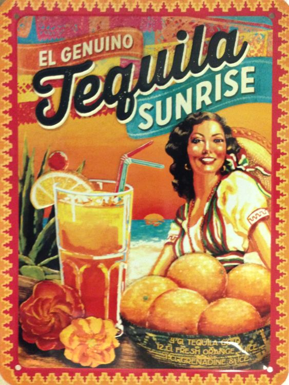 Plechová ceduľa Tequila Sunrice