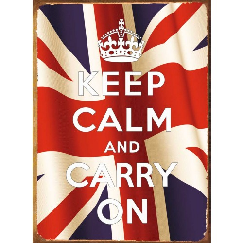 Plechová ceduľa káva Union Jack - Keep calm and carry on