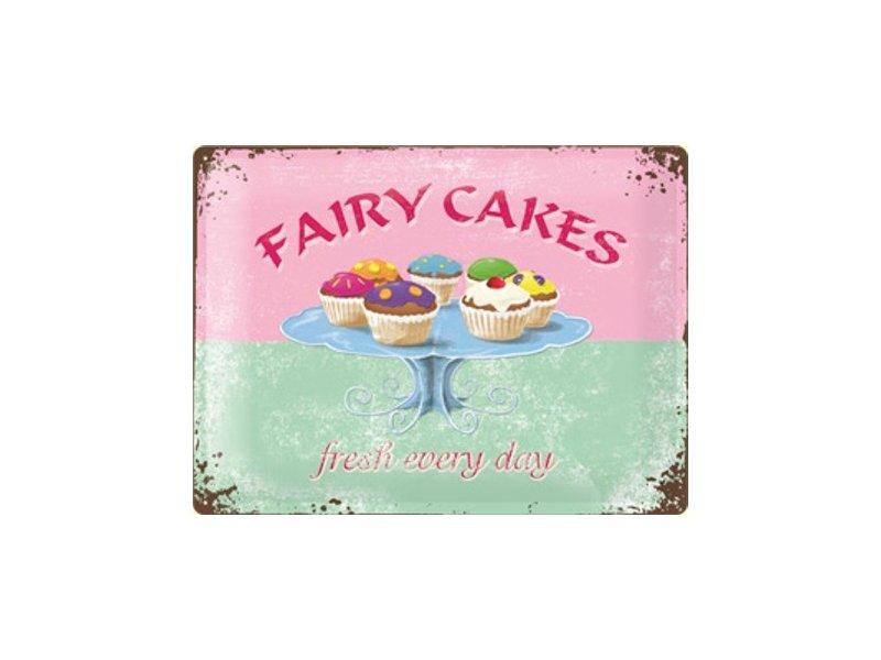 Plechová ceduľa Fairy cakes - fresh every day