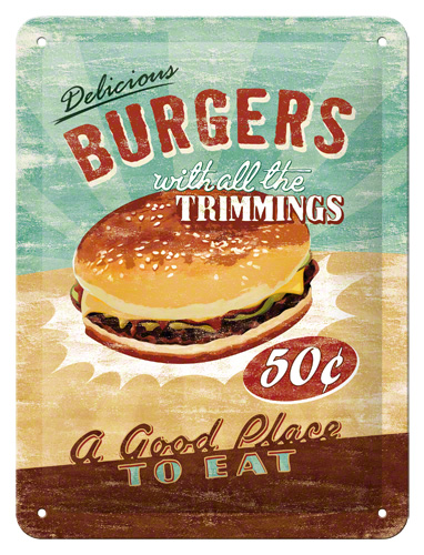 Plechová ceduľa Burgers trimmings