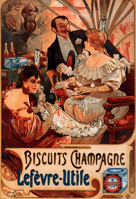 Plechová ceduľa Alfons Mucha Biscuits Champagne S