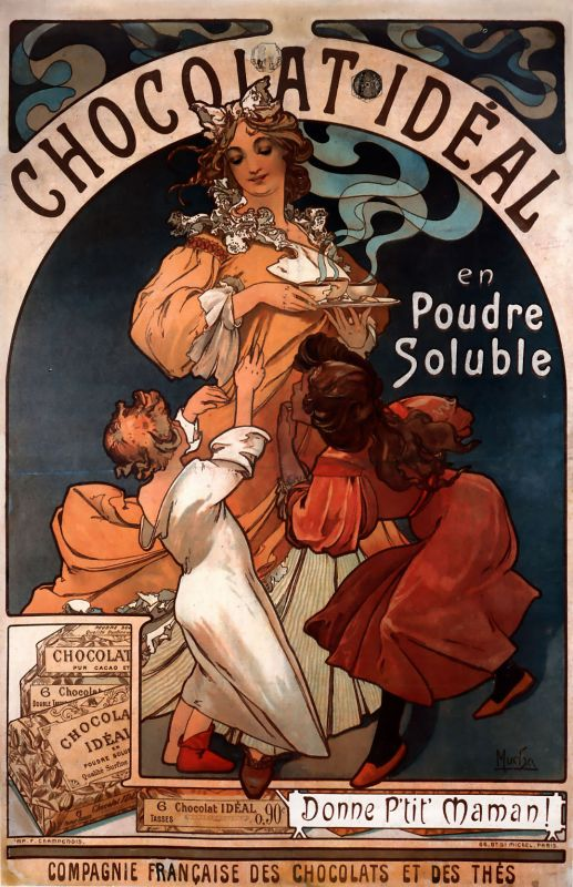 Plechová ceduľa Alfons Mucha Chocolat ideal S