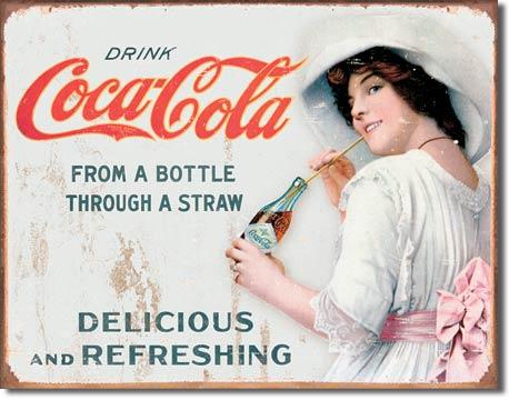 Plechová ceduľa Coca cola Delicious Refreshing - Straw