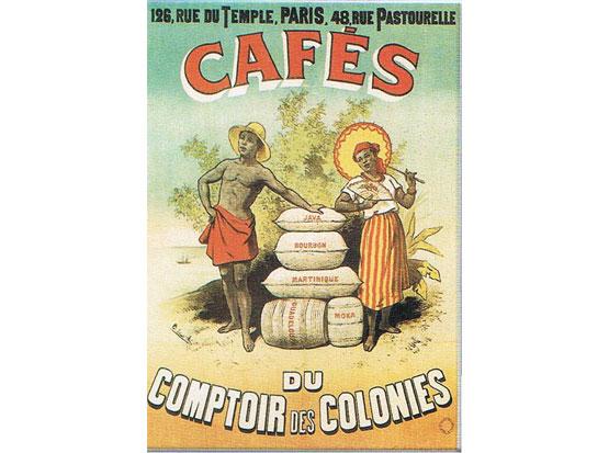 Plechová ceduľa Cafés - comptoir du colonies
