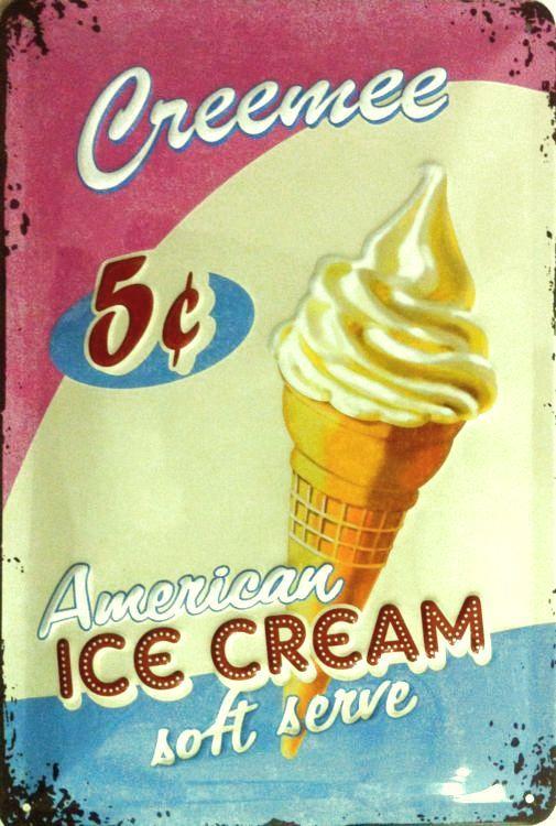 Plechová ceduľa Zmrzlina - Ice cream