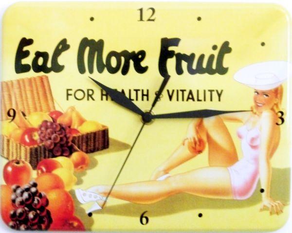 Plechové hodiny Eat more fruit