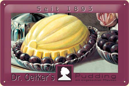 Plechová ceduľa Dr. Oetkers pudding 1893 - červené víno
