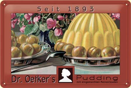 Plechová ceduľa Dr. Oetker's pudding 1893