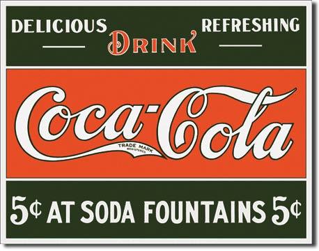 Plechová ceduľa Coca cola 5c