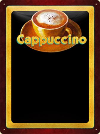 Plechová ceduľa káva Cappuccino POPISOVACÍ
