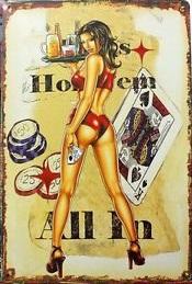 Plechová ceduľa Poker - Holdem all in