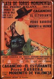 Plechová ceduľa vintage - Plaza de toros arenas Woman