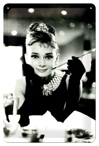 Plechová retro cedule Audrey Hepburn