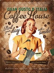 Plechová ceduľa Coffee house Start your day with a smile